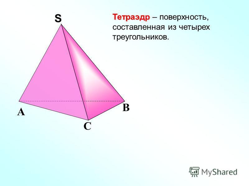 Тетраэдр Тетраэдр – поверхность, составленная из четырех треугольников. С А В SS