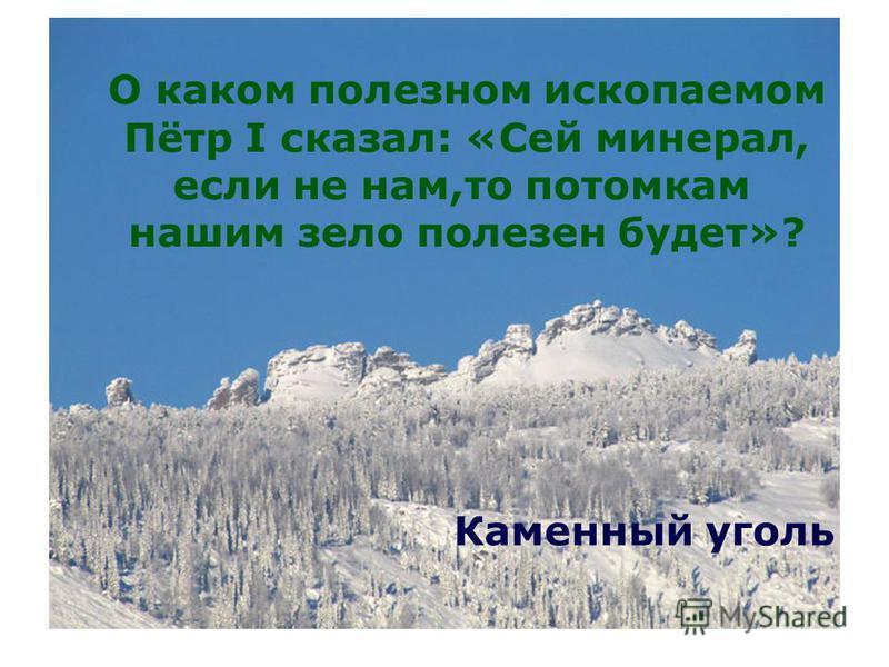 О каком полезном ископаемом Пётр I сказал: «Сей минерал, если не нам,то потомкам нашим зело полезен будет»? Каменный уголь