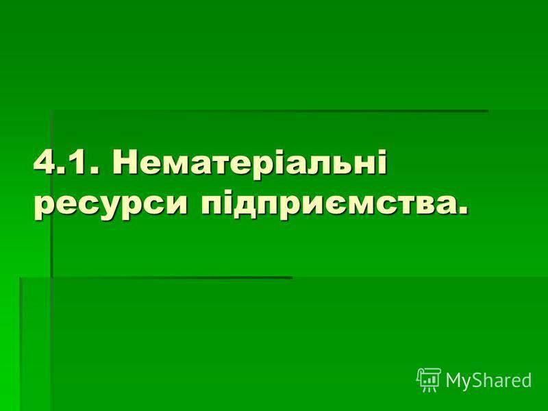 4.1. Нематеріальні ресурси підприємства.