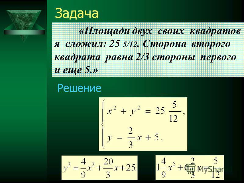 8 Задача «Площади двух своих квадратов я сложил: 25 5/12. Сторона второго квадрата равна 2/3 стороны первого и еще 5.» Решение
