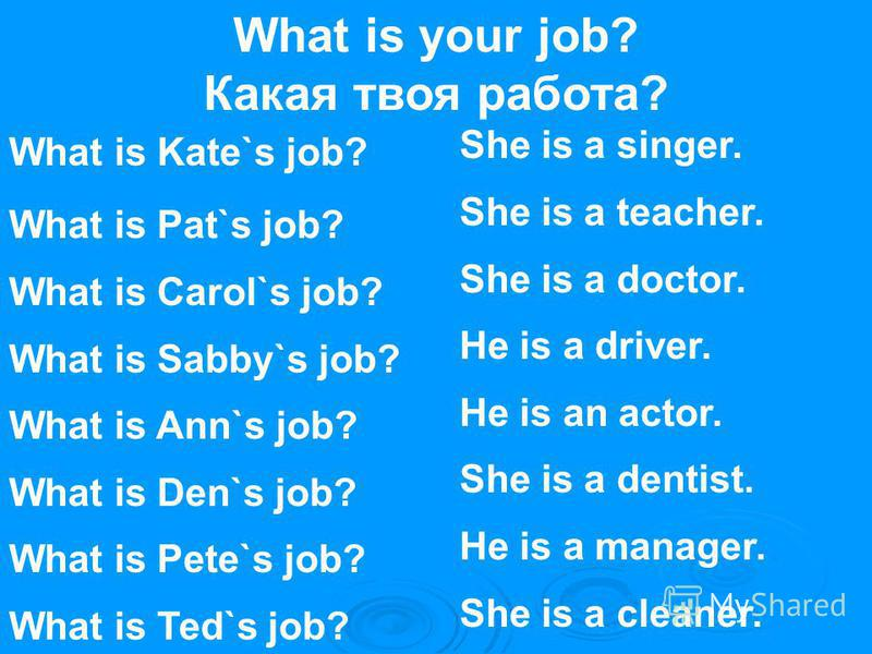 What is your job? Какая твоя работа? What is Kate`s job? What is Pat`s job? What is Carol`s job? What is Sabby`s job? What is Ann`s job? What is Den`s job? What is Pete`s job? What is Ted`s job? She is a singer. She is a teacher. She is a doctor. He