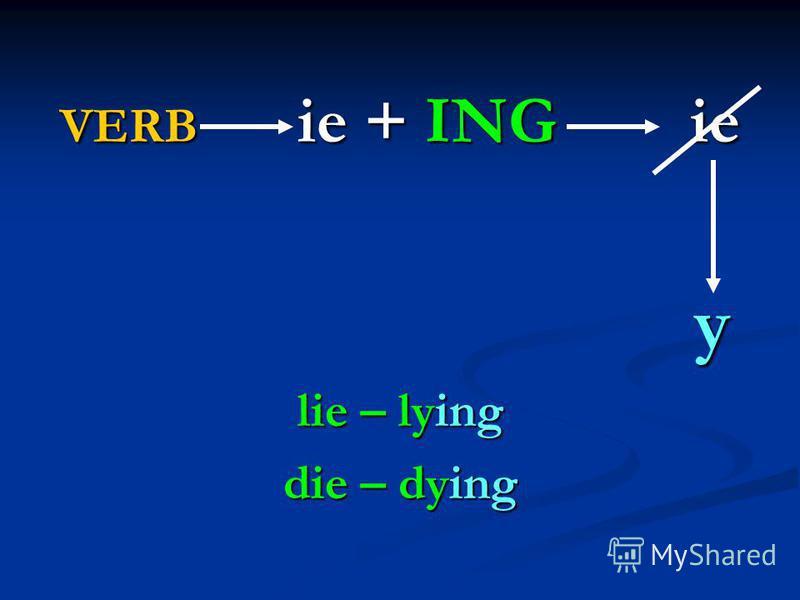 VERB ie + ING ie y lie – lying die – dying