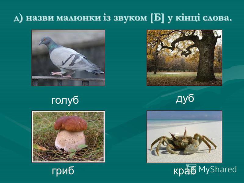 д) назви малюнки із звуком [Б] у кінці слова. голуб дуб гриб краб
