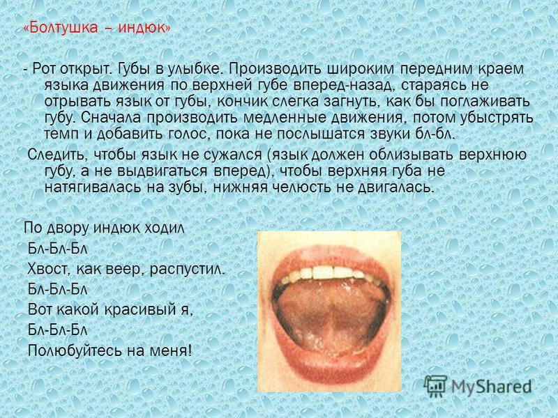 «Болтушка – индюк» - Рот открыт. Губы в улыбке. Производить широким передним краем языка движения по верхней губе вперед-назад, стараясь не отрывать язык от губы, кончик слегка загнуть, как бы поглаживать губу. Сначала производить медленные движения,