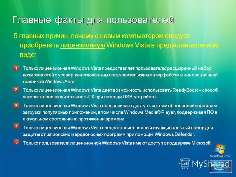 Главные факты для пользователей 5 главных причин, почему с новым компьютером следует приобретать лицензионную Windows Vista в предустановленном виде: Только лицензионная Windows Vista предоставляет пользователю расширенный набор возможностей с усовер