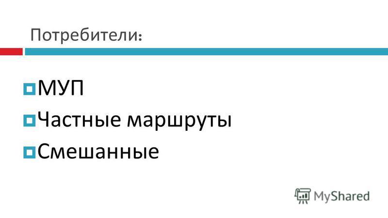 Потребители : МУП Частные маршруты Смешанные