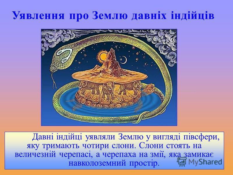 Уявлення про Землю давніх індійців Давні індійці уявляли Землю у вигляді півсфери, яку тримають чотири слони. Слони стоять на величезній черепасі, а черепаха на змії, яка замикає навколоземний простір.