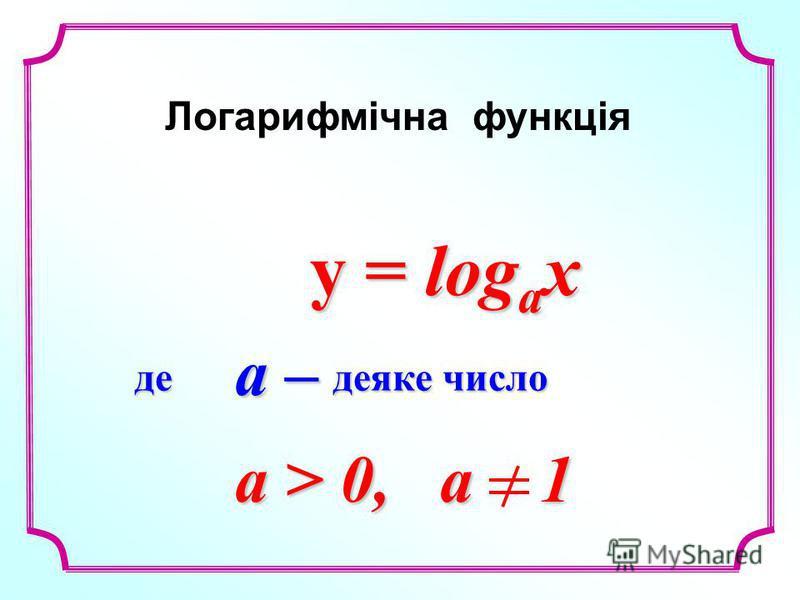 y = log a x y = log a x Логарифмічна функція a > 0, a 1 де деяке число a –a –a –a –