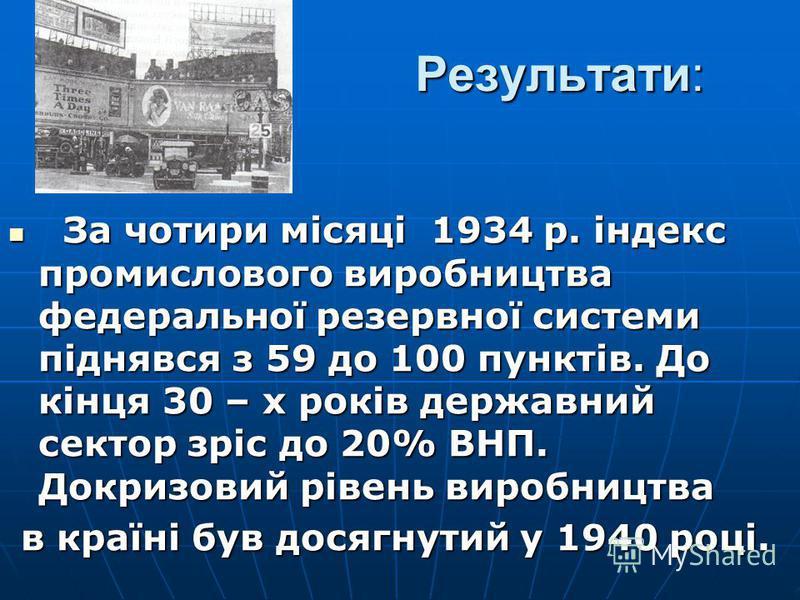 Результати: За чотири місяці 1934 р. індекс промислового виробництва федеральної резервної системи піднявся з 59 до 100 пунктів. До кінця 30 – х років державний сектор зріс до 20% ВНП. Докризовий рівень виробництва За чотири місяці 1934 р. індекс про