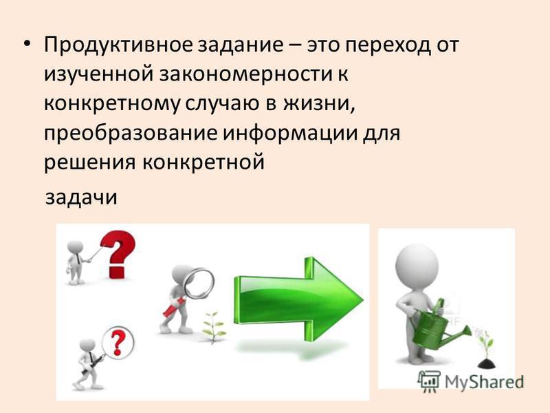 Продуктивное задание – это переход от изученной закономерности к конкретному случаю в жизни, преобразование информации для решения конкретной задачи