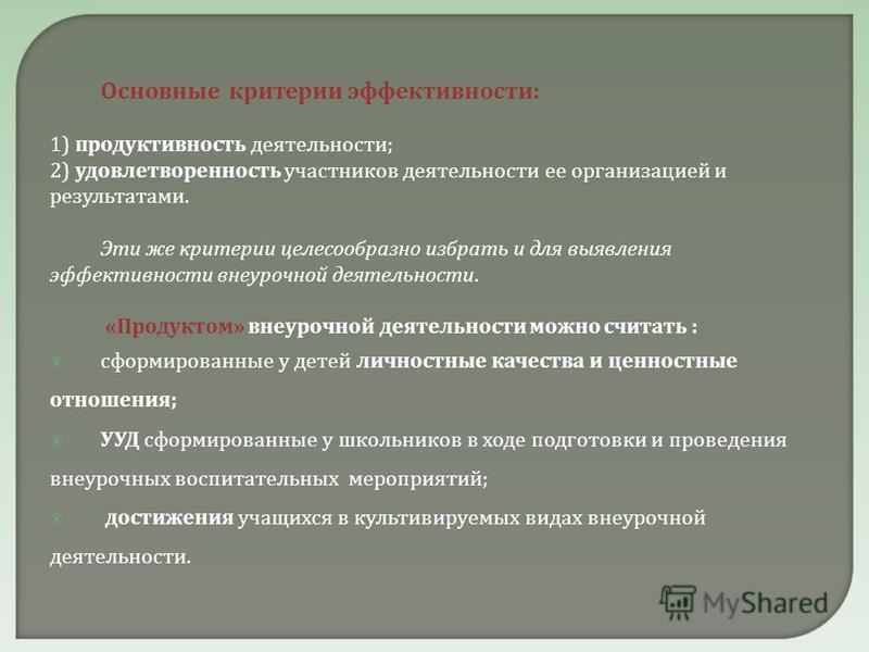 Основные критерии эффективности : 1) продуктивность деятельности ; 2) удовлетворенность участников деятельности ее организацией и результатами. Эти же критерии целесообразно избрать и для выявления эффективности внеурочной деятельности. « Продуктом »