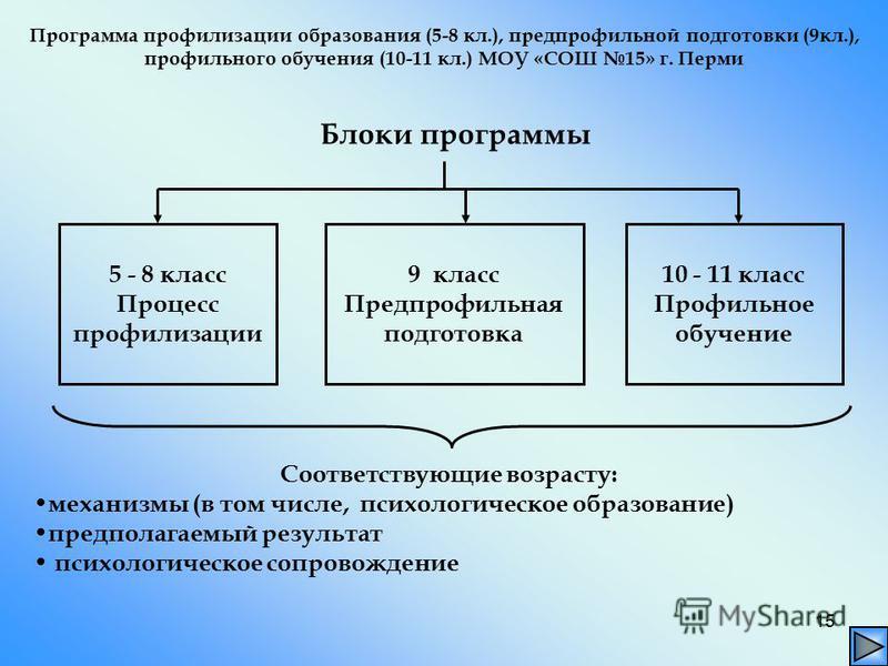 15 Блоки программы 5 - 8 класс Процесс профилизации 9 класс Предпрофильная подготовка 10 - 11 класс Профильное обучение Соответствующие возрасту: механизмы (в том числе, психологическое образование) предполагаемый результат психологическое сопровожде