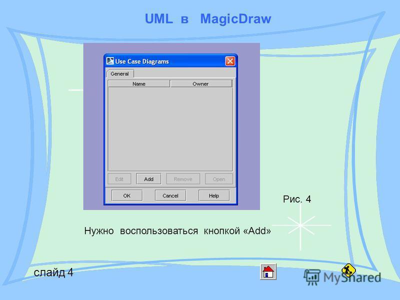 UML в MagicDraw слайд 4 Рис. 4 Нужно воспользоваться кнопкой «Add»