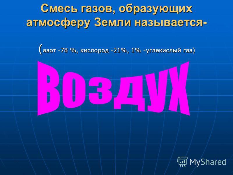Смесь газов, образующих атмосферу Земли называется- ( азот -78 %, кислород -21%, 1% -углекислый газ)