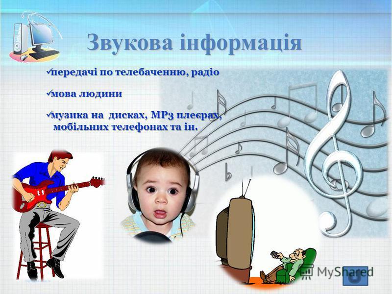 Звукова інформація передачі по телебаченню, радіо передачі по телебаченню, радіо мова людини мова людини музика на дисках, МР3 плеєрах, музика на дисках, МР3 плеєрах, мобільних телефонах та ін. мобільних телефонах та ін.