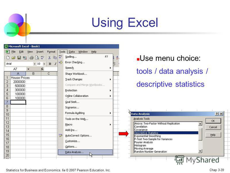 Statistics for Business and Economics, 6e © 2007 Pearson Education, Inc. Chap 3-39 Using Excel Use menu choice: tools / data analysis / descriptive statistics