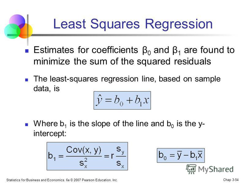 Statistics for Business and Economics, 6e © 2007 Pearson Education, Inc. Chap 3-54 Least Squares Regression Estimates for coefficients β 0 and β 1 are found to minimize the sum of the squared residuals The least-squares regression line, based on samp