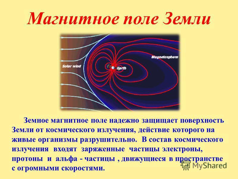 Земное магнитное поле надежно защищает поверхность Земли от космического излучения, действие которого на живые организмы разрушительно. В состав космического излучения входят заряженные частицы электроны, протоны и альфа - частицы, движущиеся в прост