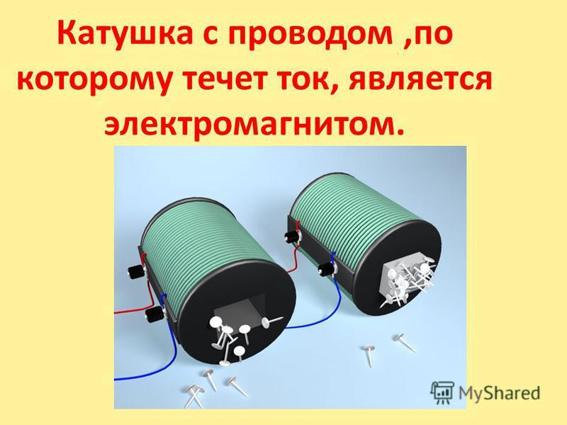 Катушка с проводом,по которому течет ток, является электромагнитом.