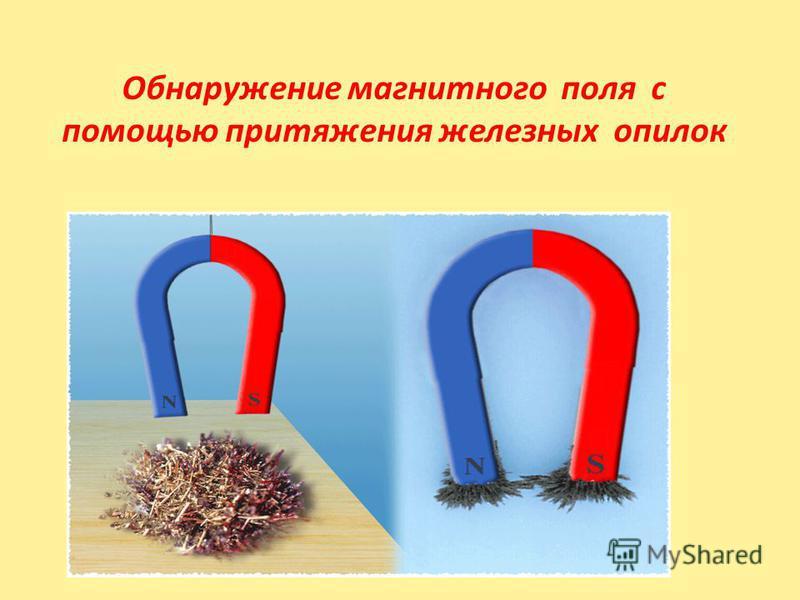 Обнаружение магнитного поля с помощью притяжения железных опилок