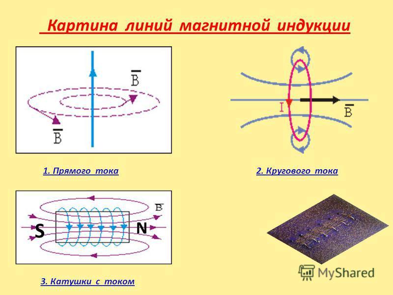 Картина линий магнитной индукции 1. Прямого тока 2. Кругового тока 3. Катушки с током N S
