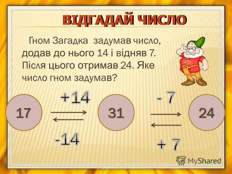 Гном Загадка задума в число, додав до нього 14 і в ідняв 7. П і сл я цього отримав 24. Яке число гном задума в ? ?312417