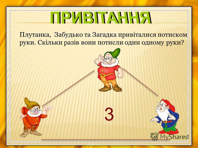 3 Плутанка, Забудько та Загадка привіталися потиском руки. Скільки разів вони потисли один одному руки?