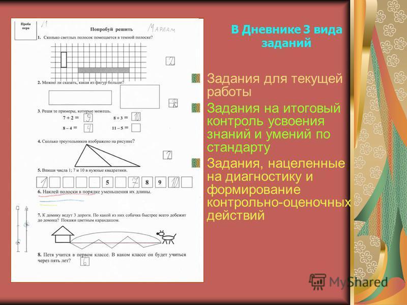 В Дневнике 3 вида заданий Задания для текущей работы Задания на итоговый контроль усвоения знаний и умений по стандарту Задания, нацеленные на диагностику и формирование контрольно-оценочных действий
