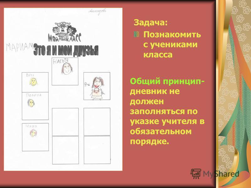 Задача: Познакомить с учениками класса Общий принцип- дневник не должен заполняться по указке учителя в обязательном порядке.