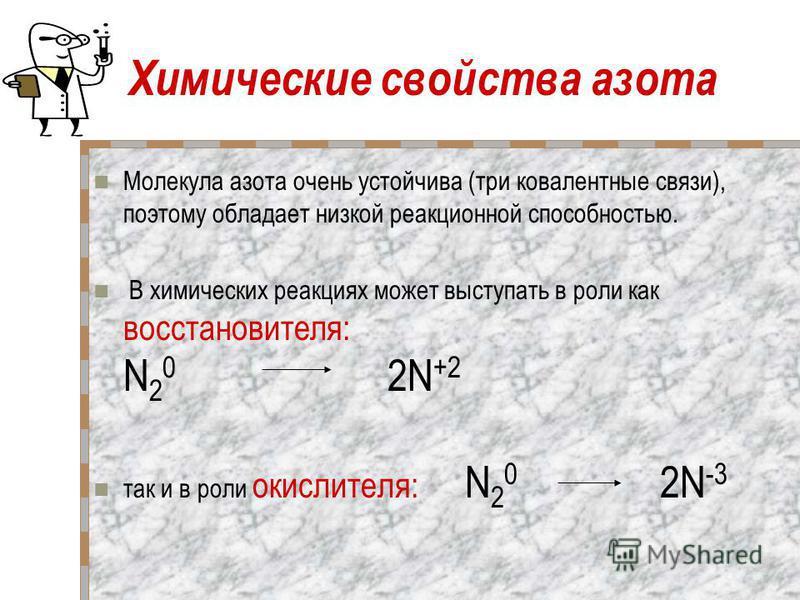 Химические свойства азота Молекула азота очень устойчива (три ковалентные связи), поэтому обладает низкой реакционной способностью. В химических реакциях может выступать в роли как восстановителя: N 2 0 2N +2 так и в роли окислителя: N 2 0 2N -3