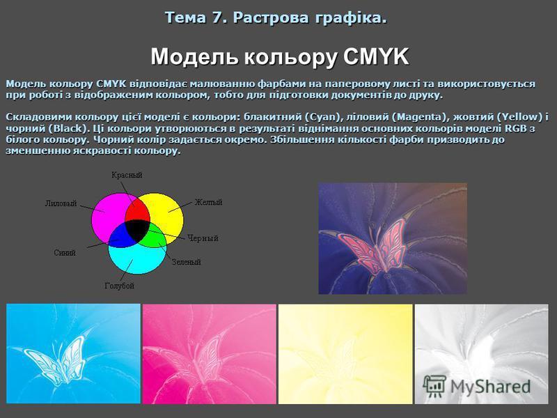Модель кольору CMYK Тема 7. Растрова графіка. Модель кольору CMYK відповідає малюванню фарбами на паперовому листі та використовується при роботі з відображеним кольором, тобто для підготовки документів до друку. Складовими кольору цієї моделі є коль
