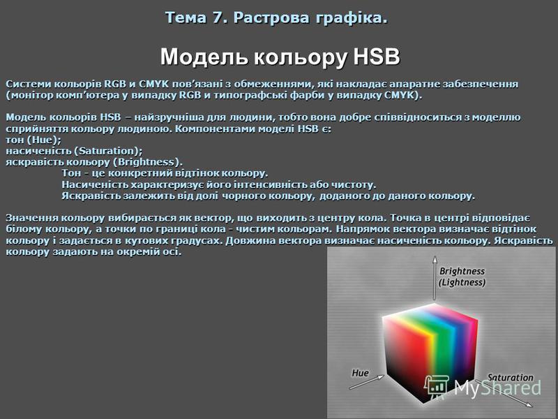 Модель кольору HSB Тема 7. Растрова графіка. Системи кольорів RGB и CMYK повязані з обмеженнями, які накладає апаратне забезпечення (монітор компютера у випадку RGB и типографські фарби у випадку CMYK). Модель кольорів HSB – найзручніша для людини, т