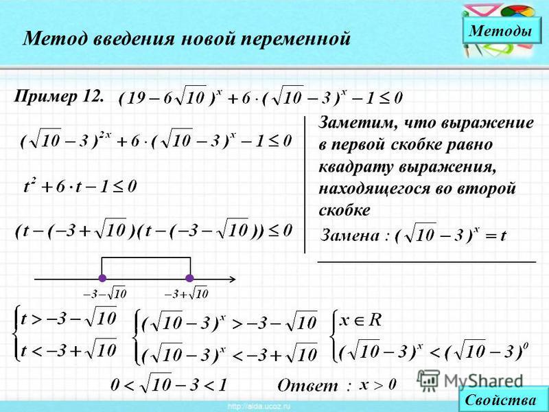 Заметим, что выражение в первой скобке равно квадрату выражения, находящегося во второй скобке Метод введения новой переменной Методы Пример 12. Свойства