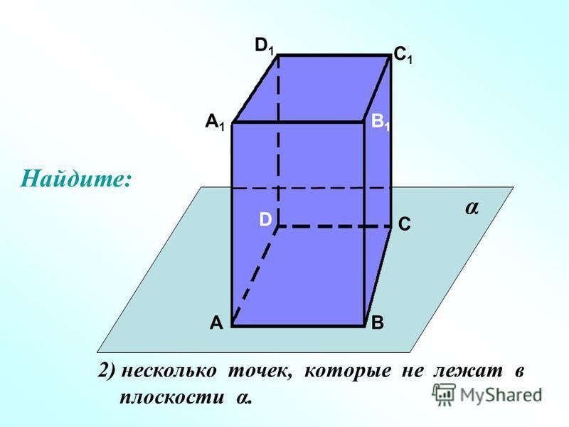 А А1А1 В В1В1 С С1С1 D D1D1 2) несколько точек, которые не лежат в плоскости α. α Найдите: