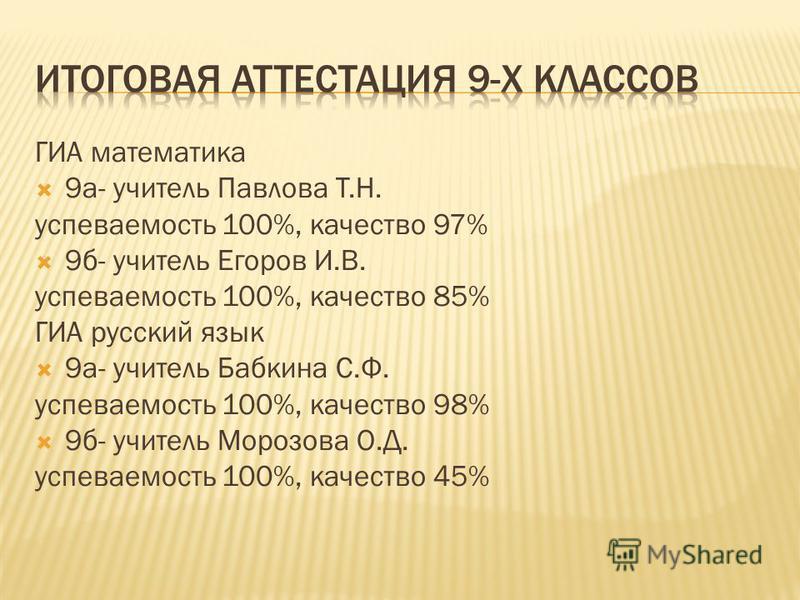 ГИА математика 9 а- учитель Павлова Т.Н. успеваемость 100%, качество 97% 9 б- учитель Егоров И.В. успеваемость 100%, качество 85% ГИА русский язык 9 а- учитель Бабкина С.Ф. успеваемость 100%, качество 98% 9 б- учитель Морозова О.Д. успеваемость 100%,