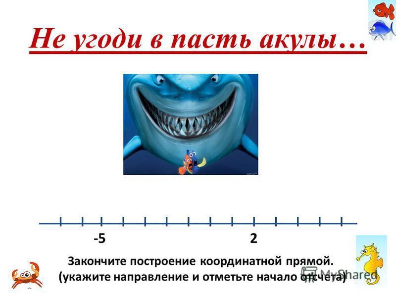 Не угоди в пасть акулы… -5 2 Закончите построение координатной прямой. (укажите направление и отметьте начало отсчета)