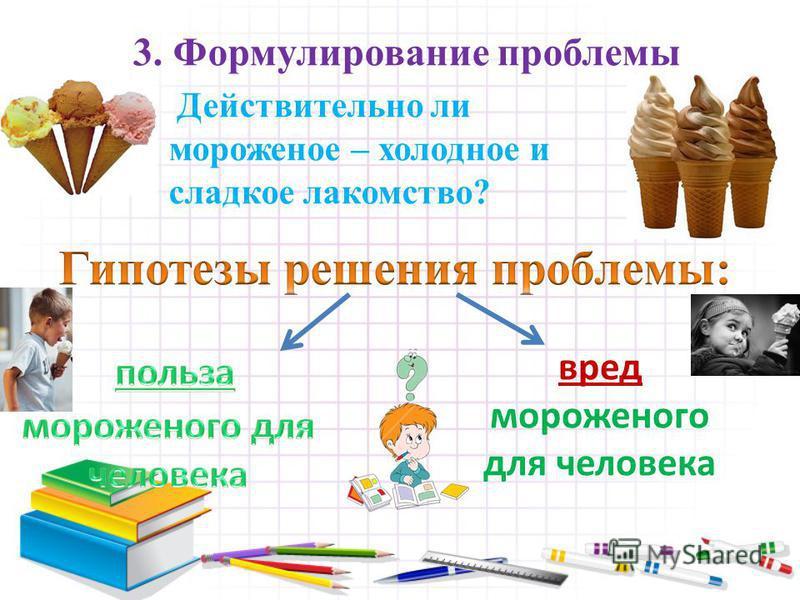3. Формулирование проблемы Действительно ли мороженое – холодное и сладкое лакомство? вред мороженого для человека