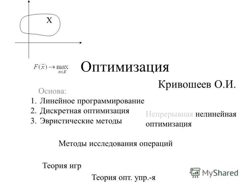 Оптимизация Кривошеев О.И. 1. Линейное программирование 2. Дискретная оптимизация 3. Эвристические методы Методы исследования операций Теория игр Теория опт. упр.-я Основа: Непрерывная нелинейная оптимизация Х