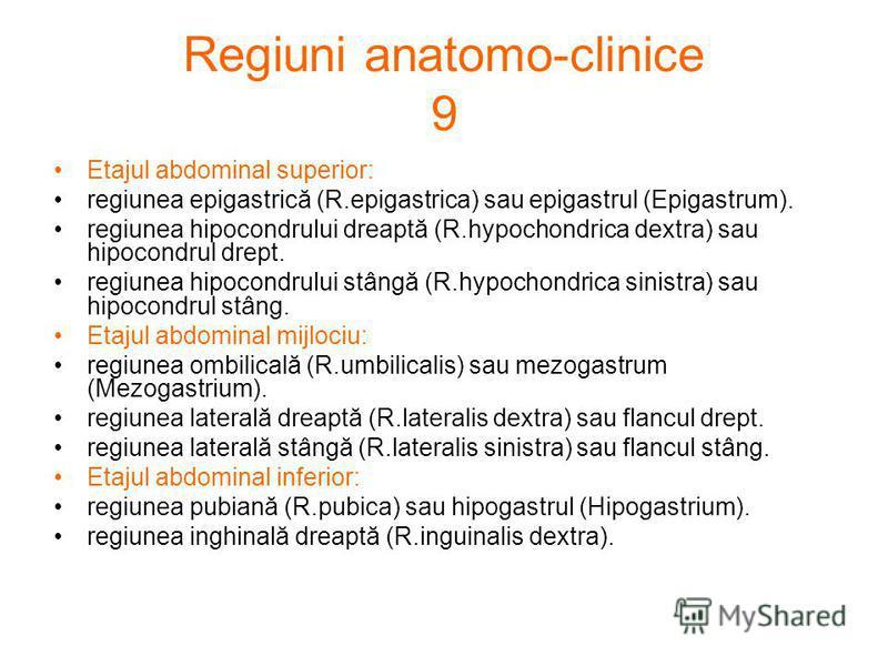 Regiuni anatomo-clinice 9 Etajul abdominal superior: regiunea epigastrică (R.epigastrica) sau epigastrul (Epigastrum). regiunea hipocondrului dreaptă (R.hypochondrica dextra) sau hipocondrul drept. regiunea hipocondrului stângă (R.hypochondrica sinis