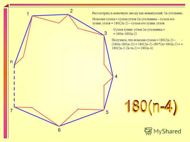 Прежде чем приступать к выведению общей формулы, потренируемся на некоторых несложных звёздах. Например, выведем сумму углов звезды (n,2) (n, конечно же, нечётно):
