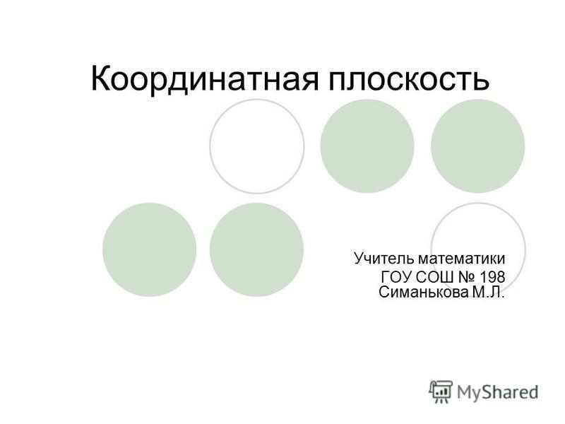 Координатная плоскость Учитель математики ГОУ СОШ 198 Симанькова М.Л.