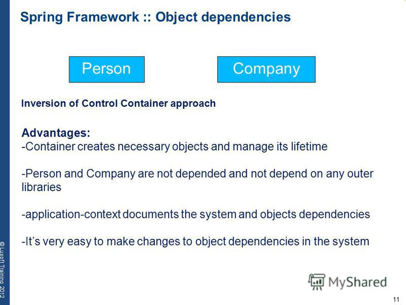 11 © Luxoft Training 2012 PersonCompany Advantages: -Container creates necessary objects and manage its lifetime -Person and Company are not depended and not depend on any outer libraries -application-context documents the system and objects dependen