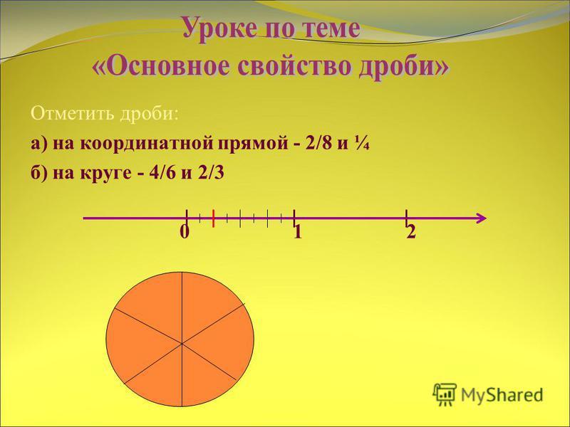 Отметить дроби: а) на координатной прямой - 2/8 и ¼ б) на круге - 4/6 и 2/3 0 1 2