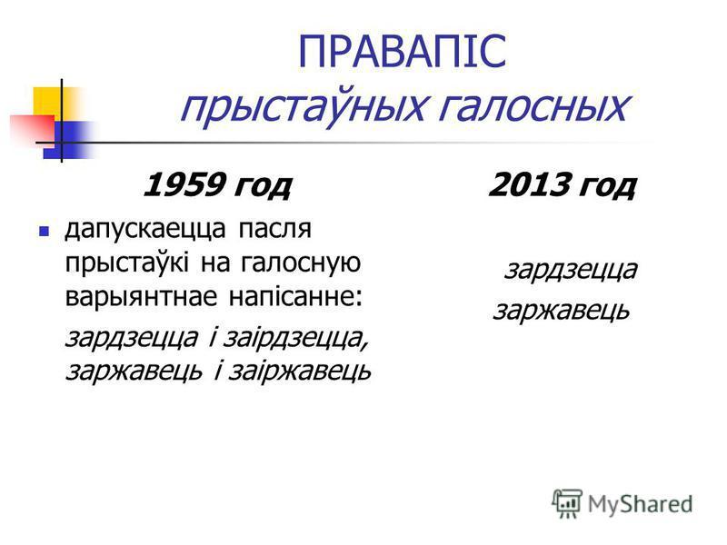 ПРАВАПІС прыстаўных галосных 1959 год дапускаецца пасля прыстаўкі на галосную варыянтнае напісанне: зардзецца і заірдзецца, заржавець і заіржавець 2013 год зардзецца заржавець