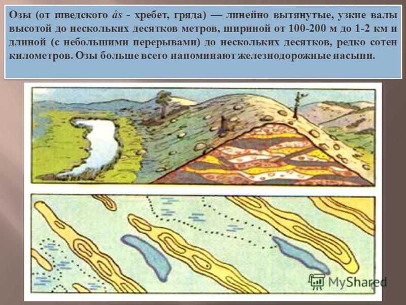Озы (от шведского ås - хребет, гряда) линейно вытянутые, узкие валы высотой до нескольких десятков метров, шириной от 100-200 м до 1-2 км и длиной (с небольшими перерывами) до нескольких десятков, редко сотен километров. Озы больше всего напоминают ж