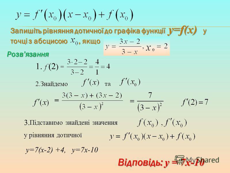 Запишіть рівняння дотичної до графіка функції y=f(x) у точці з абсцисою, якщо 1.(2 ) = 2.Знайдемо та 3. Підставимо знайдені значення у рівняння дотичної Відповідь: у = 7х-10 y=7(x-2) +4, y=7x-10 Розвязання