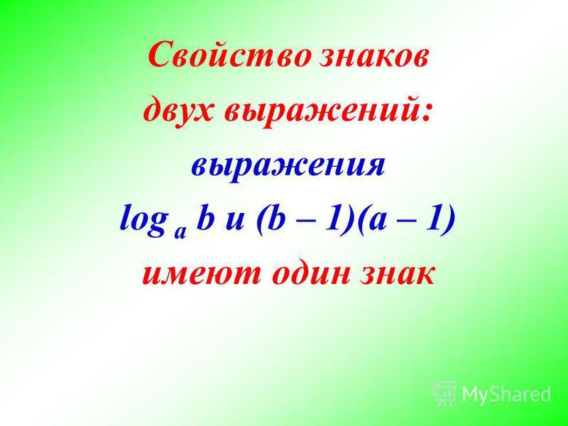Свойство знаков двух выражений: выражения log a b и (b – 1)(a – 1) имеют один знак