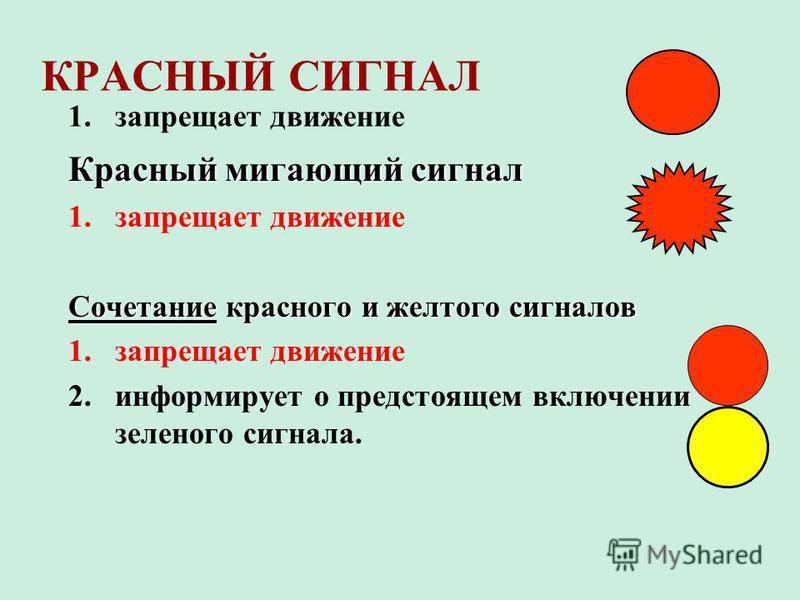 КРАСНЫЙ СИГНАЛ 1. запрещает движение Красный мигающий сигнал 1. запрещает движение Сочетание красного и желтого сигналов 1. запрещает движение 2. информирует о предстоящем включении зеленого сигнала.