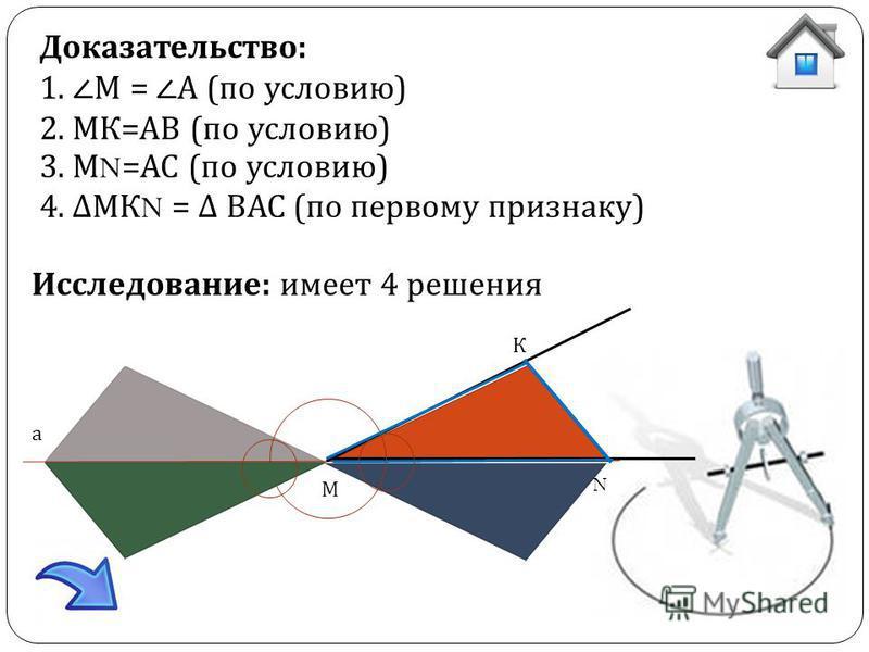 М а К N Доказательство: 1. М = А (по условию) 2. МК=АВ (по условию) 3. М N =АС (по условию) 4. МК N = ВАС (по первому признаку) Исследование: имеет 4 решения