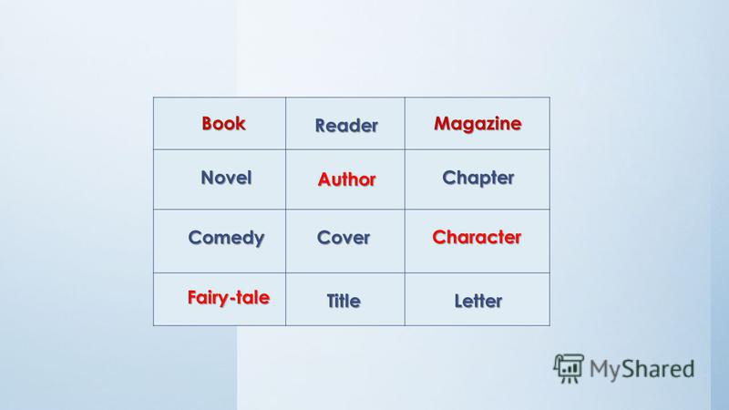 Game Which word is missing? Book Book Reader Magazine Novel Novel Author Chapter Comedy Comedy Cover Character Fairy-tale Fairy-tale Title Letter
